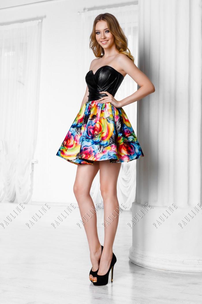 Короткое платье с кожаным лифом и яркой пышной юбкой СЕЙЛОР