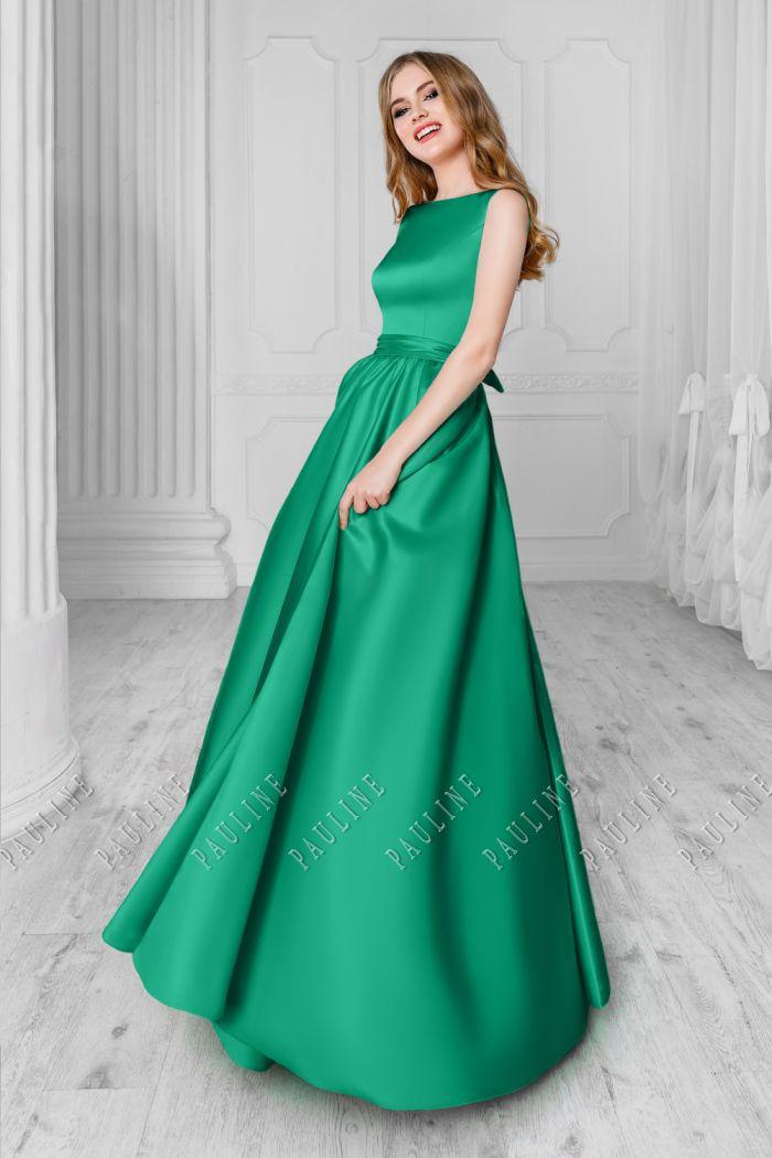 Вечернее платье элегантного силуэта зеленого цвета СКАРЛЕТТ