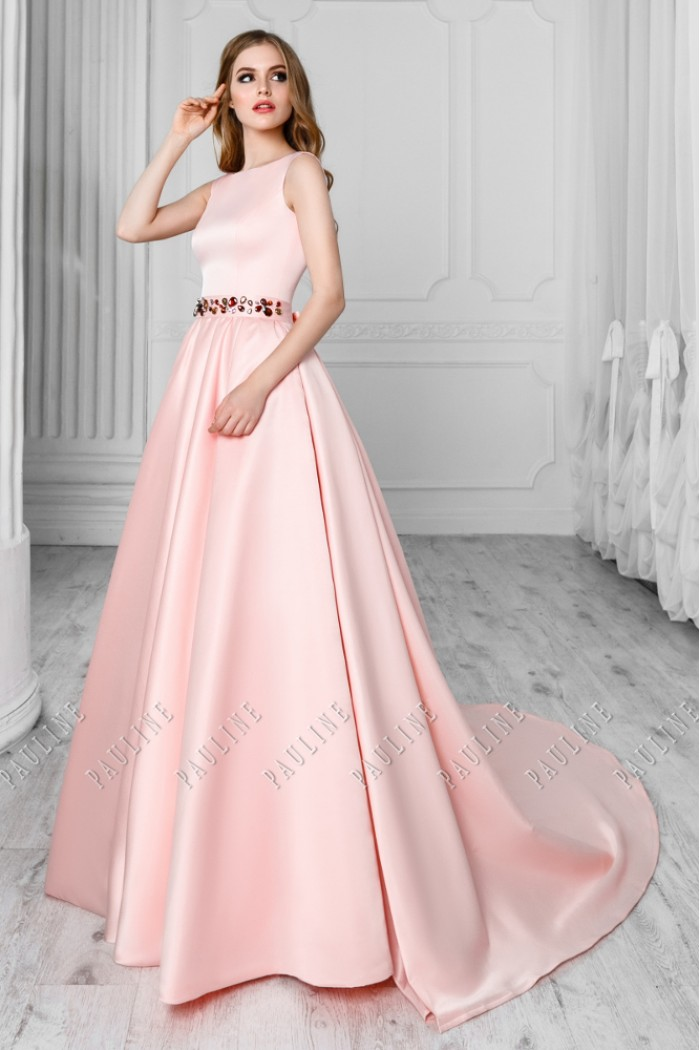 Длинное вечернее платье со съемным шлейфом СКАРЛЕТТ
