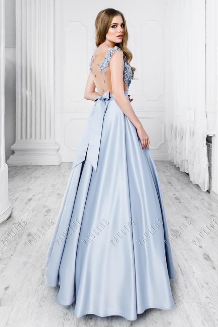 Длинное платье на выпускной с кружевным верхом и открытой спиной ШОН