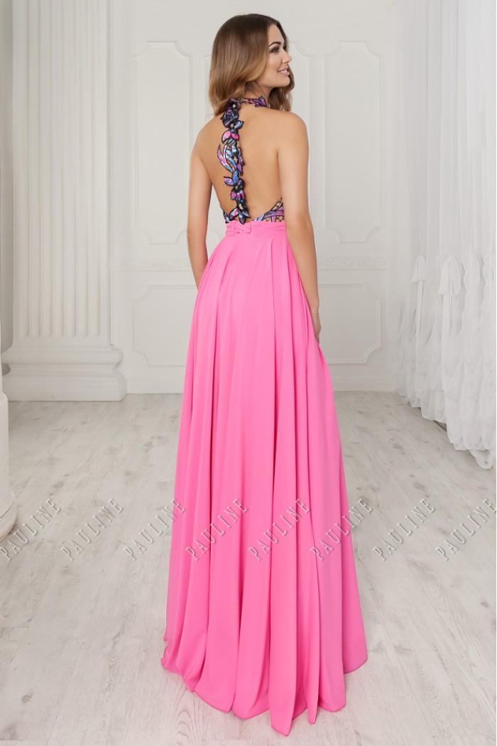 Красивое платье с открытой спинкой и длинной юбкой с разрезом ТАБАСКО