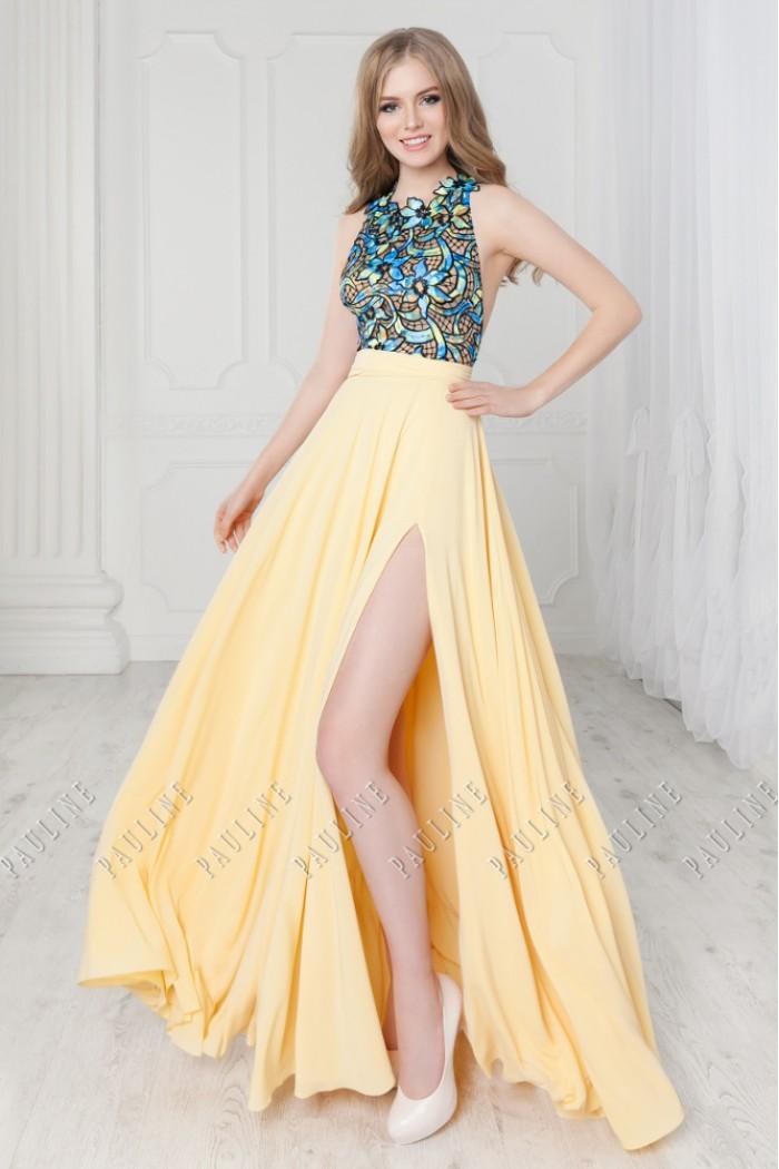 Длинное платье с разрезом и ажурным лифом с открытой спинкой ТАБАСКО