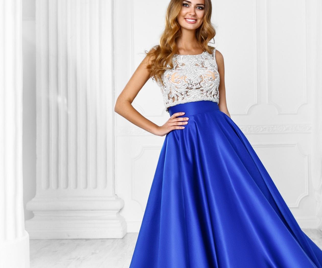 Платье на выпускной с юбкой максимальной длины и кружевным топом ТАЙРА