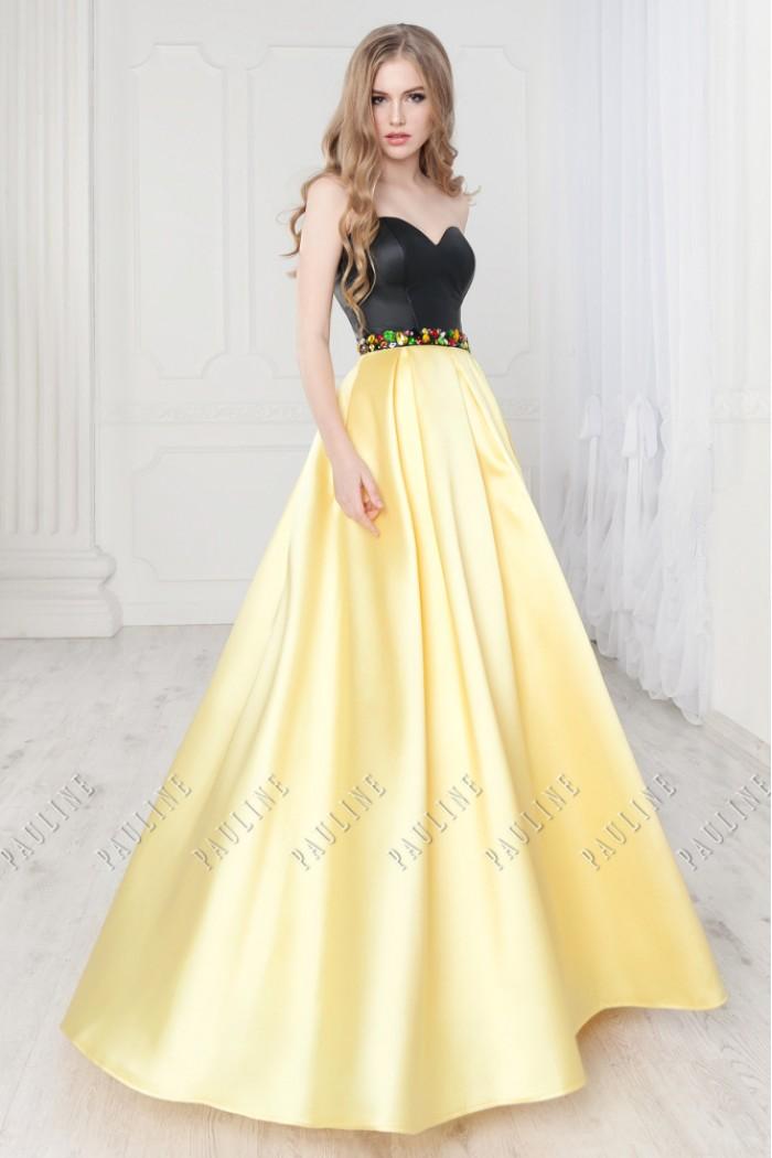 Эффектное платье с корсетным кожаным лифом и длинной юбкой ТЕЗОРО