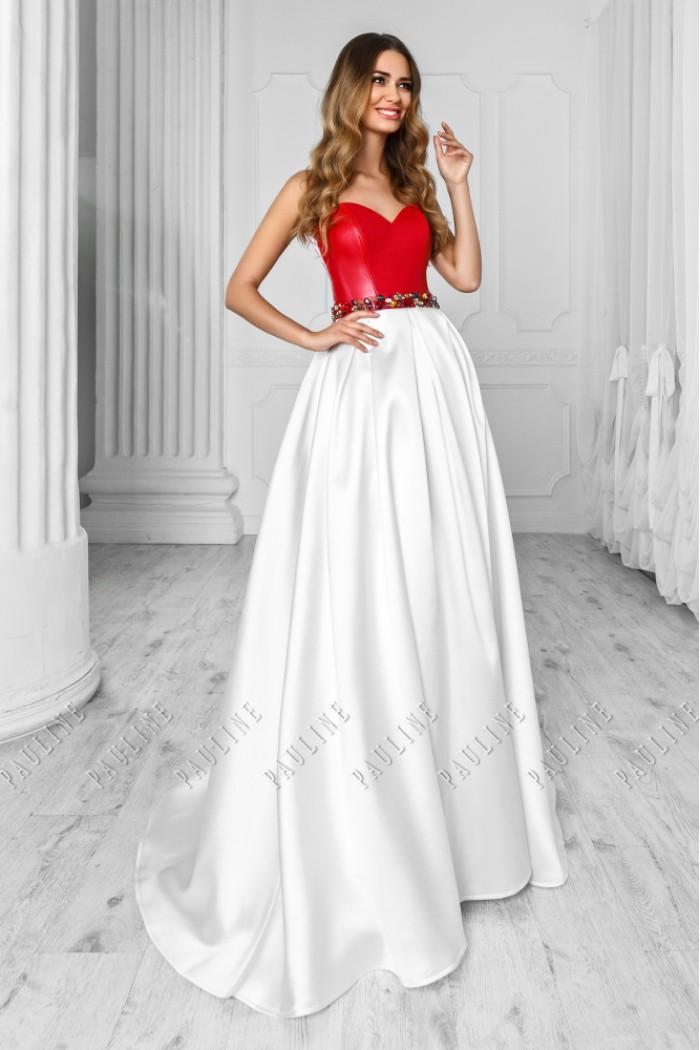 Чудесное платье на вечер с длинной юбкой и кожаным корсетом ТЕЗОРО