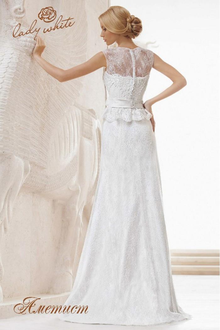 Кружевное прямое свадебное платье с поясом АМЕТИСТ