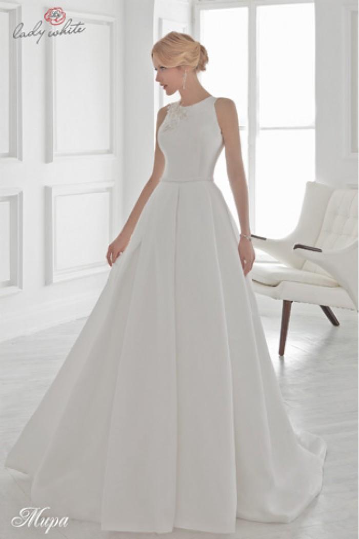 Пышное белое свадебное платье со шлейфом МИРА