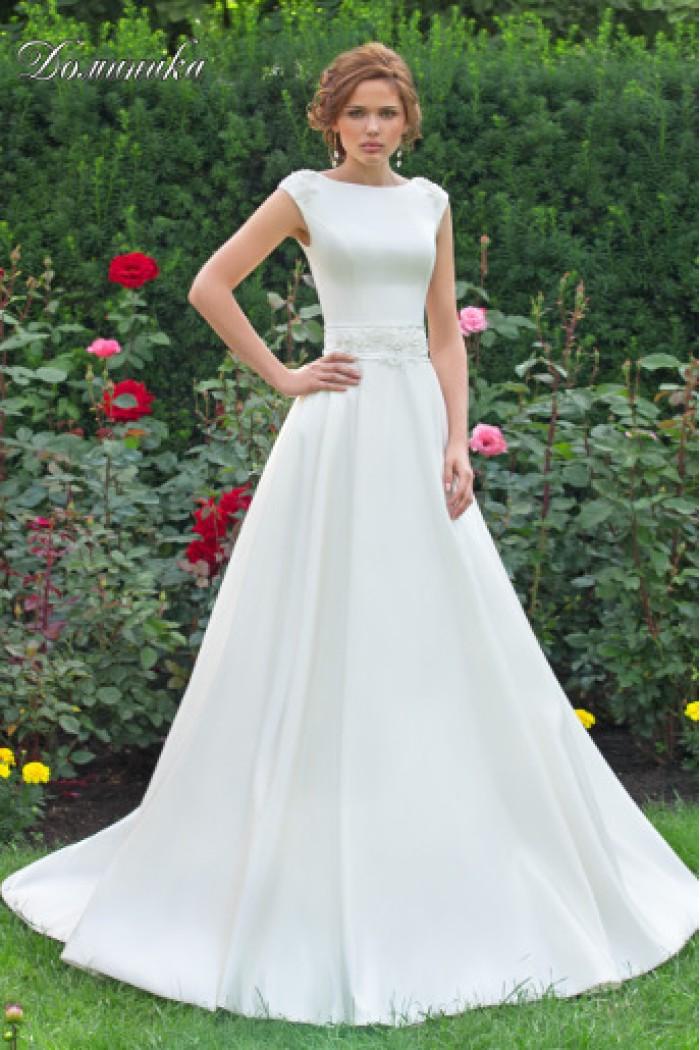 Атласное свадебное платье с полукруглым шлейфом ДОМИНИКА