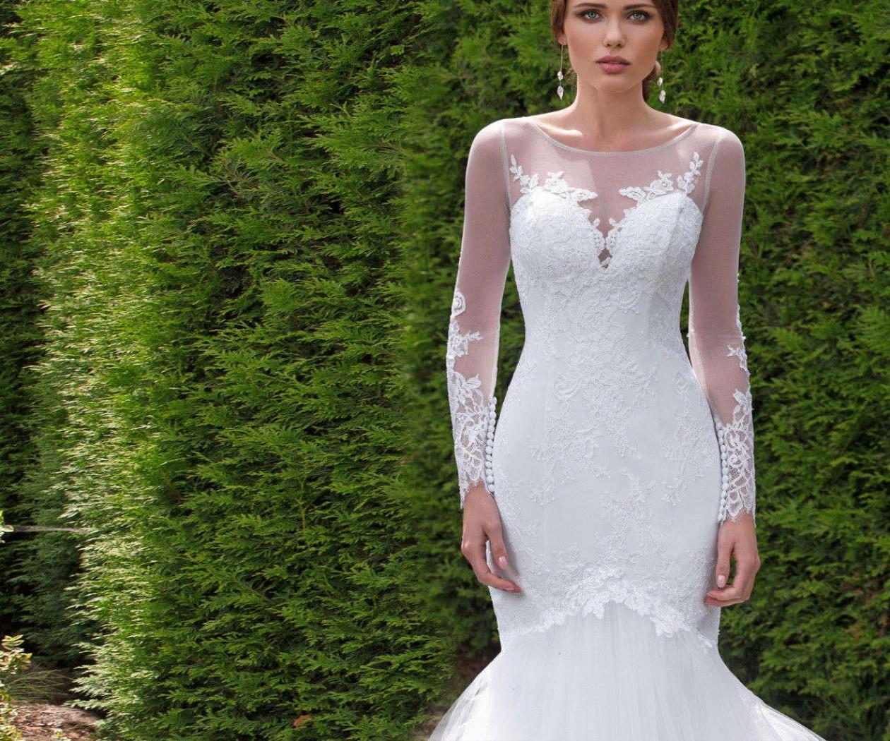 Свадебное платье силуэта рыбка с прозрачными рукавами ЕВГЕНИЯ