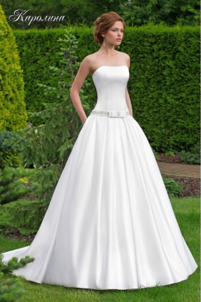 Свадебное платье с гладким корсетом и пояском КАРОЛИНА