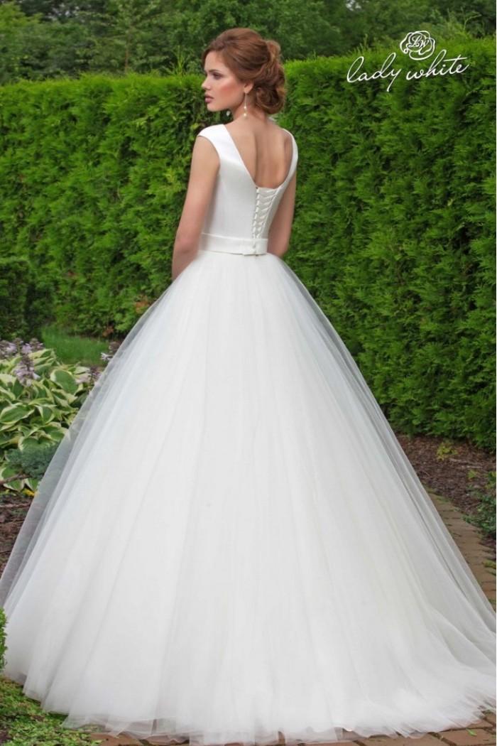 Закрытое свадебное платье с фатиновой юбкой КАТЕРИНА