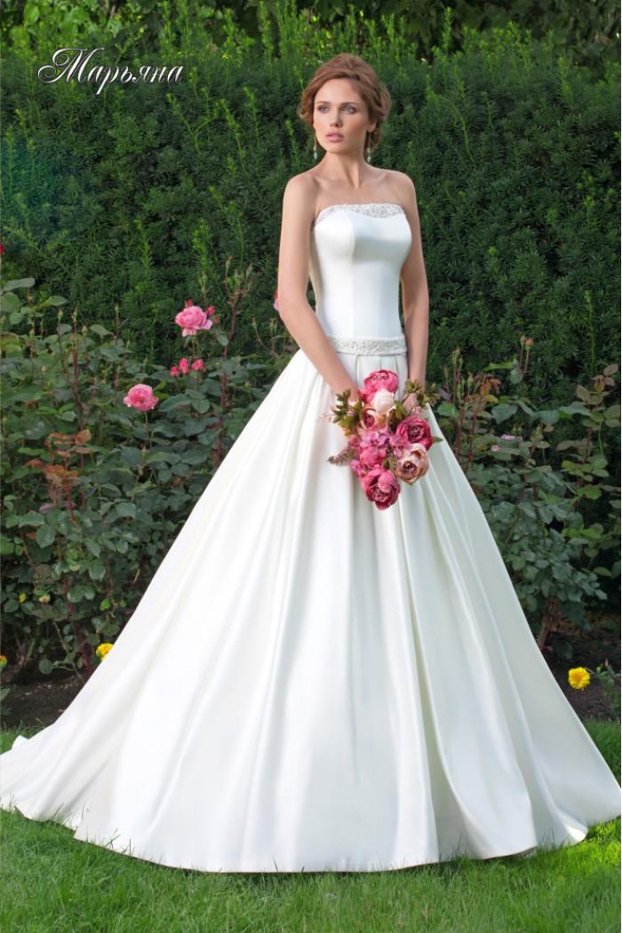 Атласное свадебное платье с открытой спиной МАРЬЯНА
