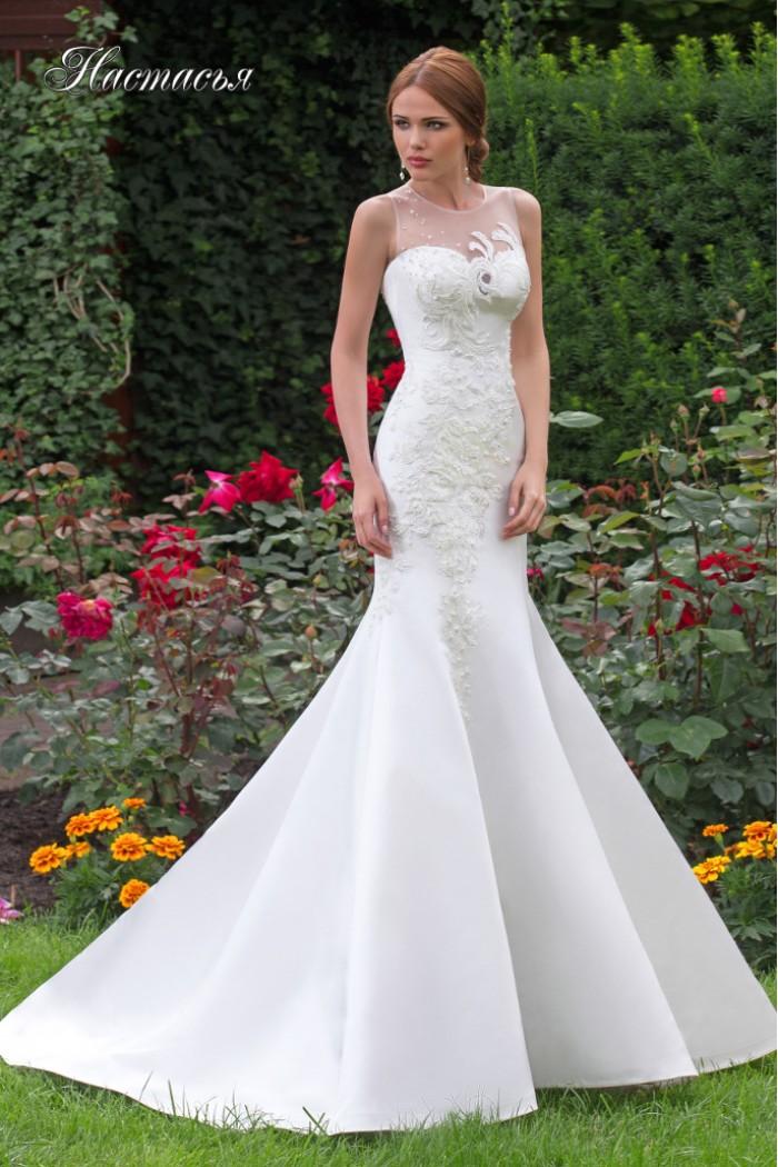 Атласное свадебное платье силуэта Рыбка НАСТАСЬЯ