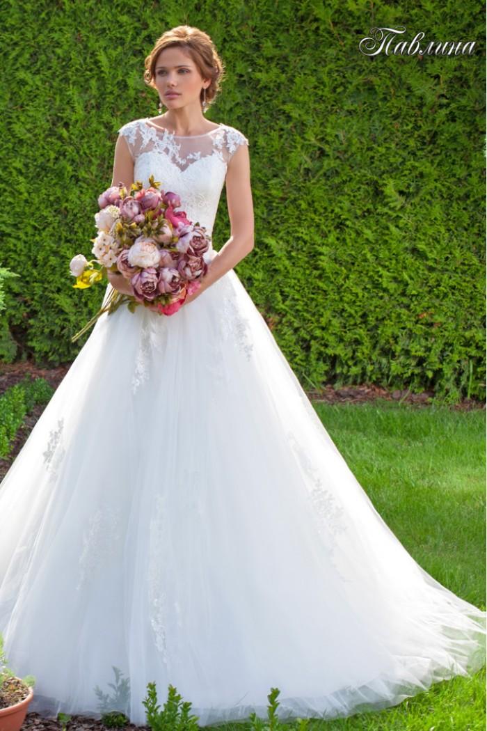 Пышное свадебное платье с закрытым верхом ПАВЛИНА