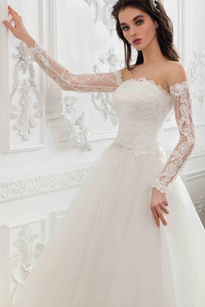 Пышное свадебное платье с длинным рукавом и шлейфом ФЕДЕРИКА