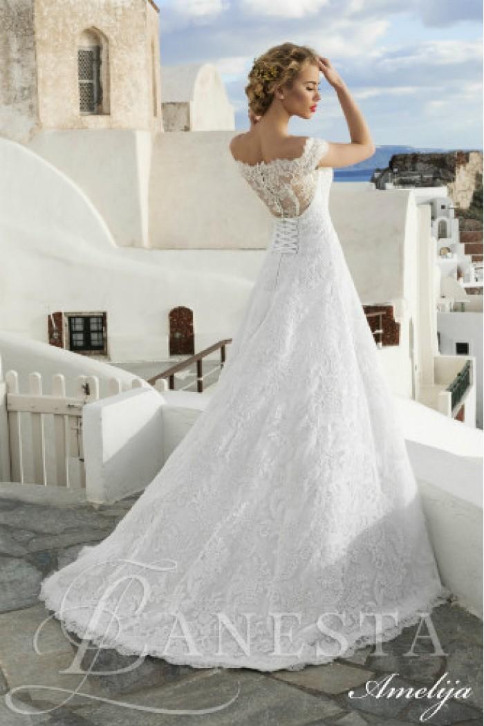 Открытое свадебное платье А силуэта АМЕЛИЯ