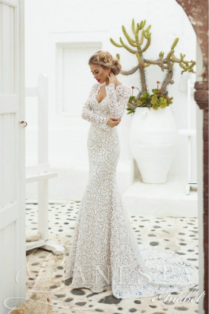Кружевное свадебное платье со шлейфом АНАБЕЛЬ