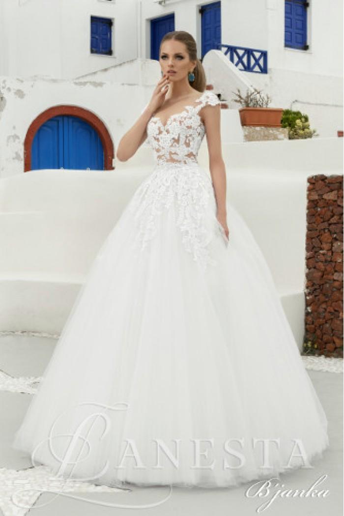 Ажурное свадебное платье с пышной юбкой и открытой спиной БЬЯНКА
