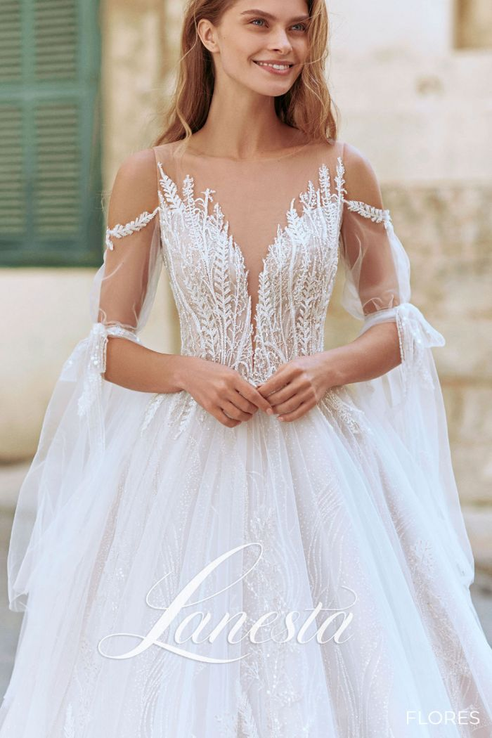 Невероятно сказочное свадебное платье оттенка слоновой кости ФЛОРЕС