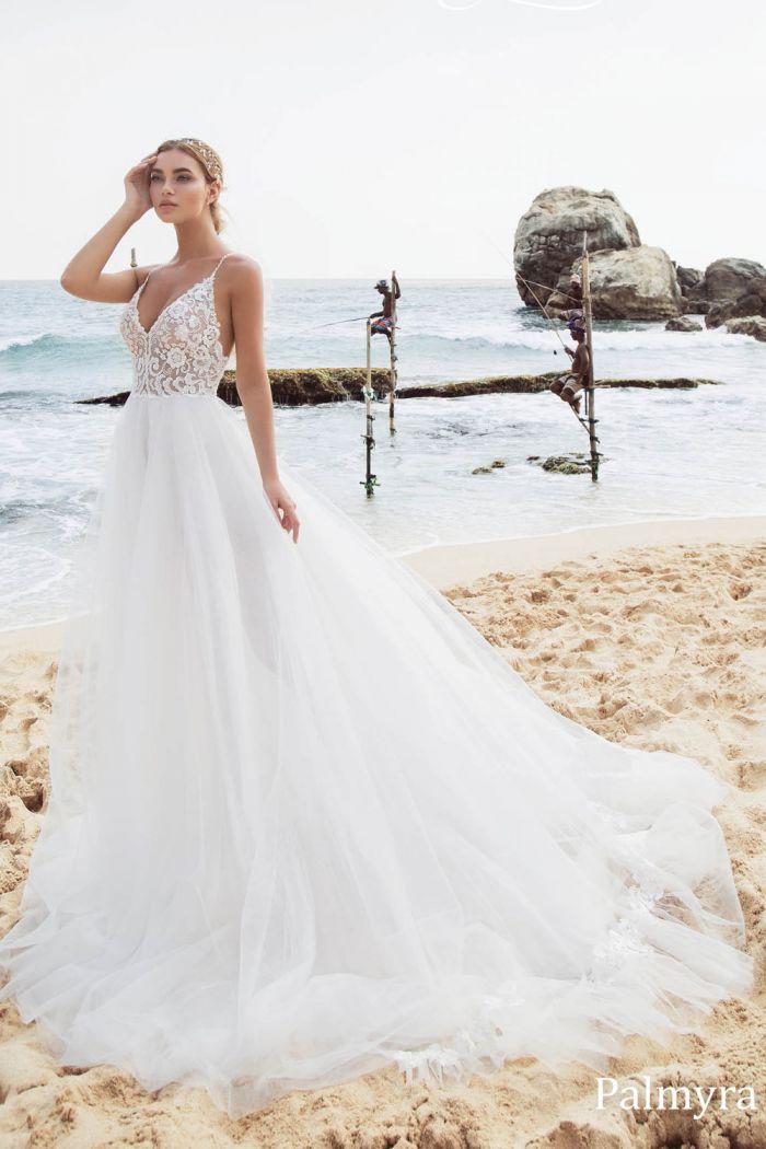 Свадебное платье с кружевным корсетом и открытой спиной ПАЛЬМИРА