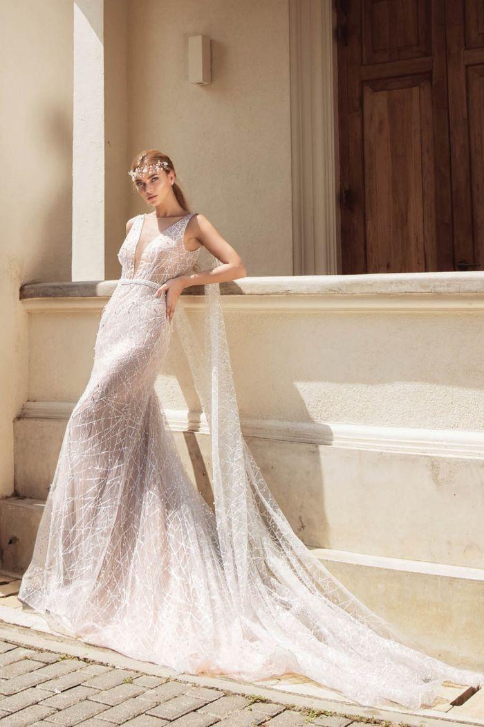 Полупрозрачное свадебное платье с эффектом нюд РУВЕТТА