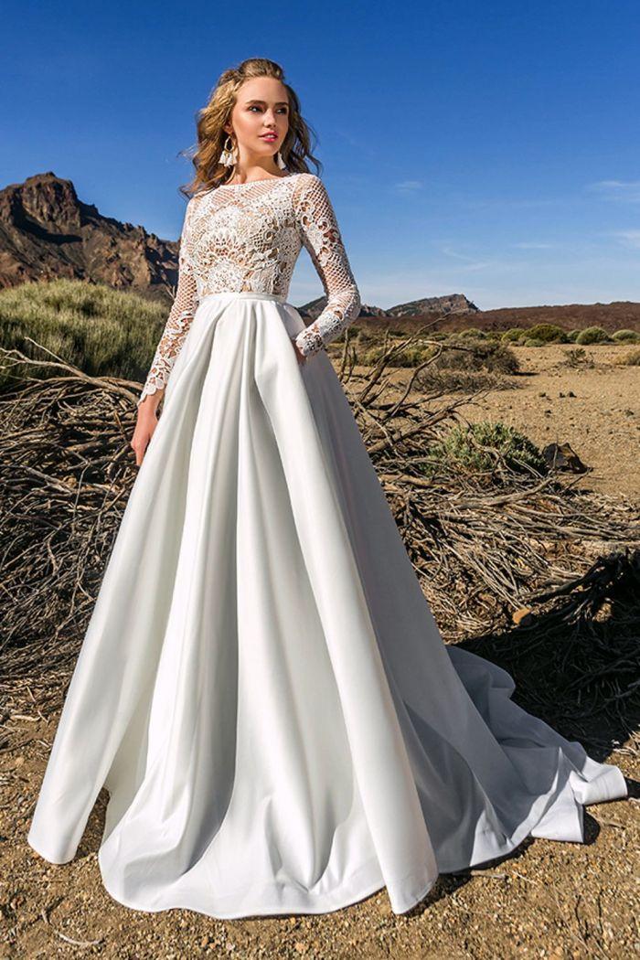 Свадебное платье с ажурными рукавами и атласной юбкой КЕЙТЕЛИН