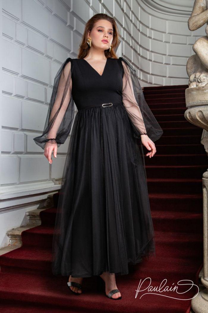 Невероятно воздушное вечернее платье чайной длины с легкими рукавами ЭЙПРИЛ