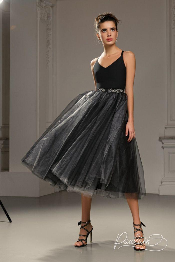 Эффектное коктейльное платье с фатиновой юбкой и лаконичным лифом КЕРРИ Миди