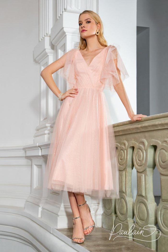 Воздушное и нежное коктейльное платье из сверкающей ткани ГАБИ