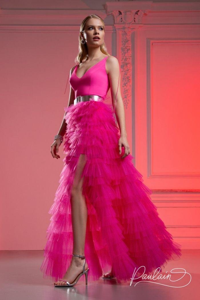 Красивое вечернее платье с глубоким декольте и высоким разрезом КИМ Макси