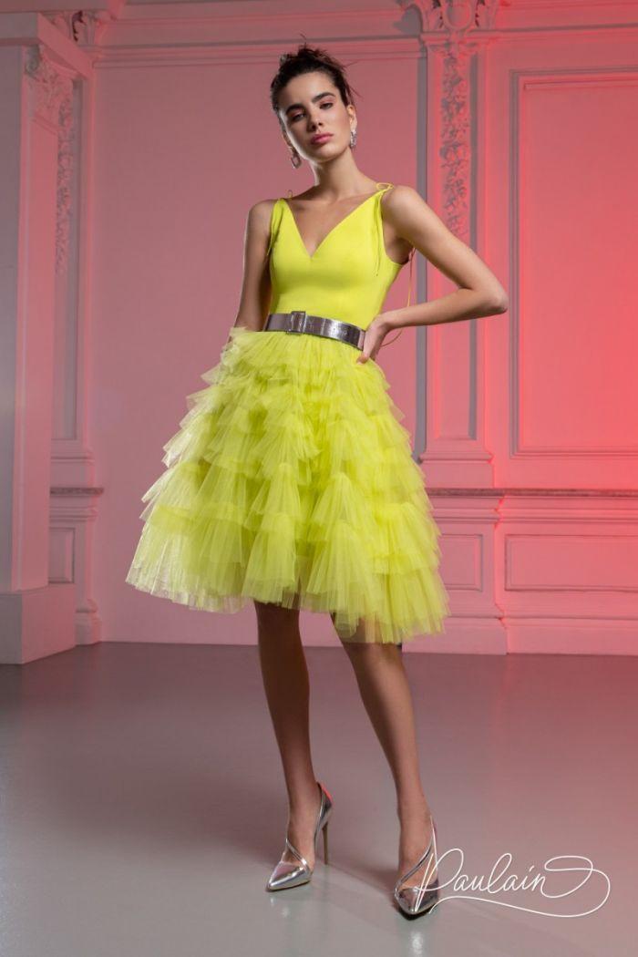 Короткое платье с пышной фатиновой юбкой, атласным лифом и поясом КИМ Мини