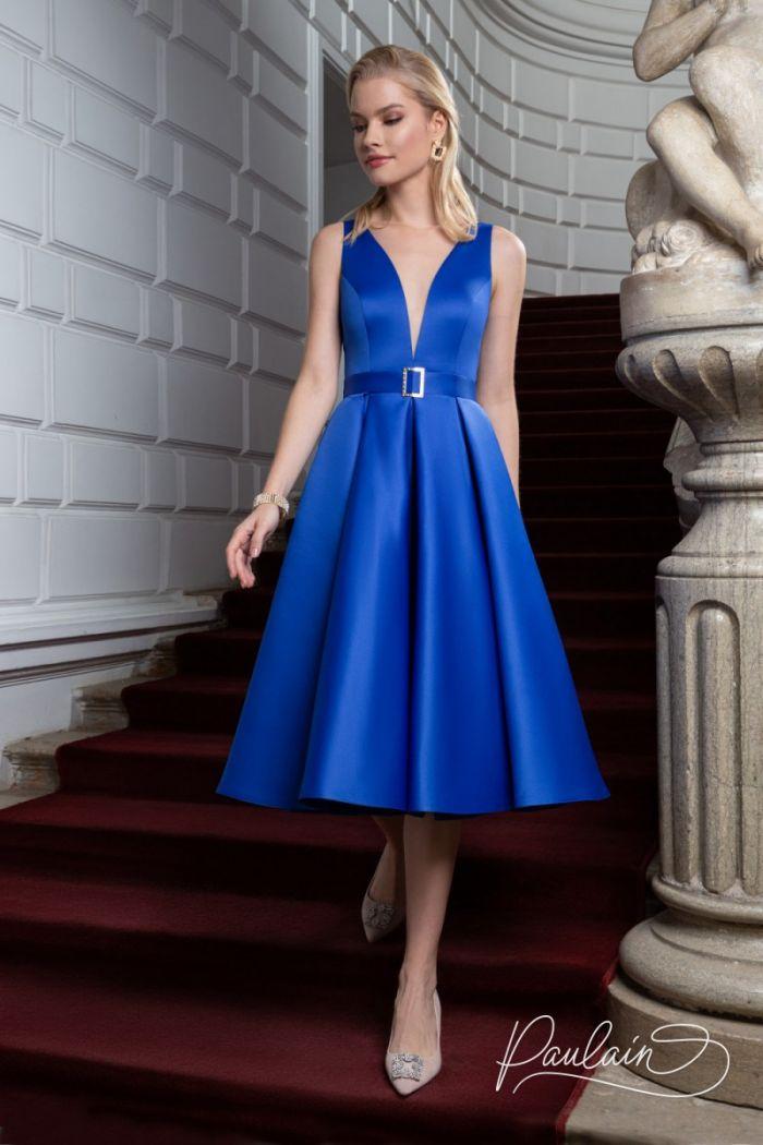 Атласное коктейльное платье длины миди с глубоким декольте ЛИВ Миди