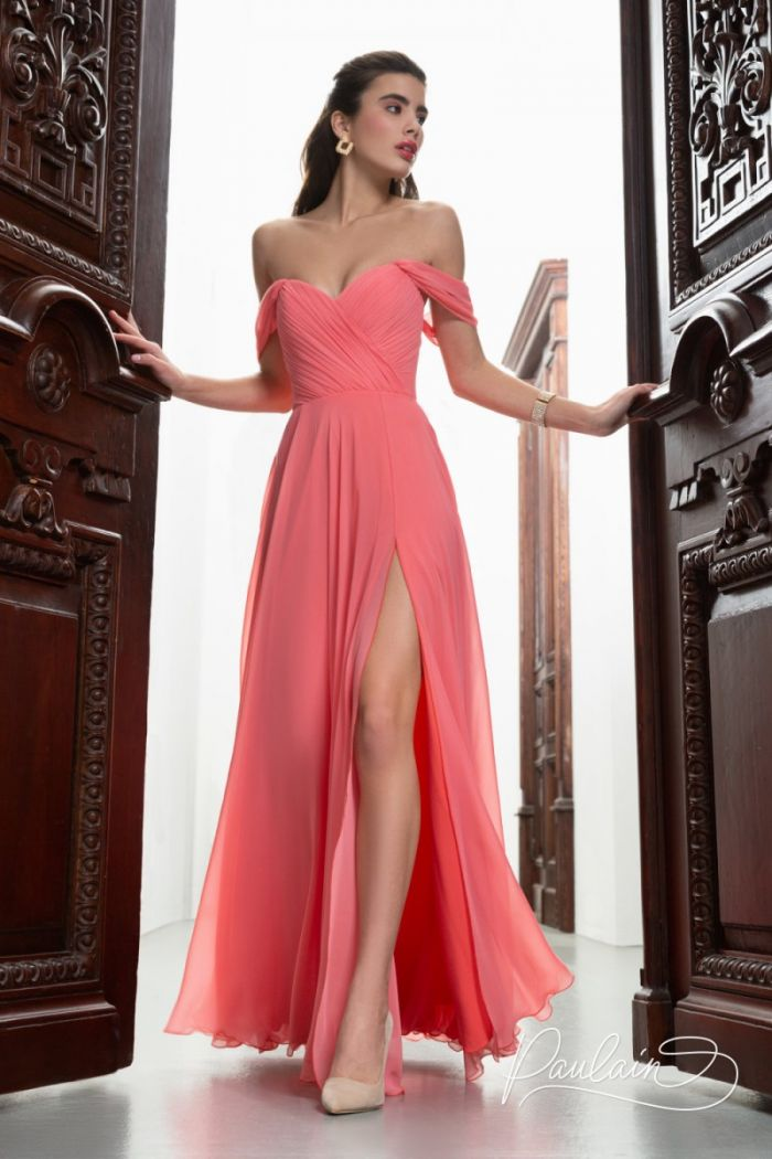 Корсетное вечернее платье из жоржета с открытыми плечами и высоким разрезом МАРАЙЯ