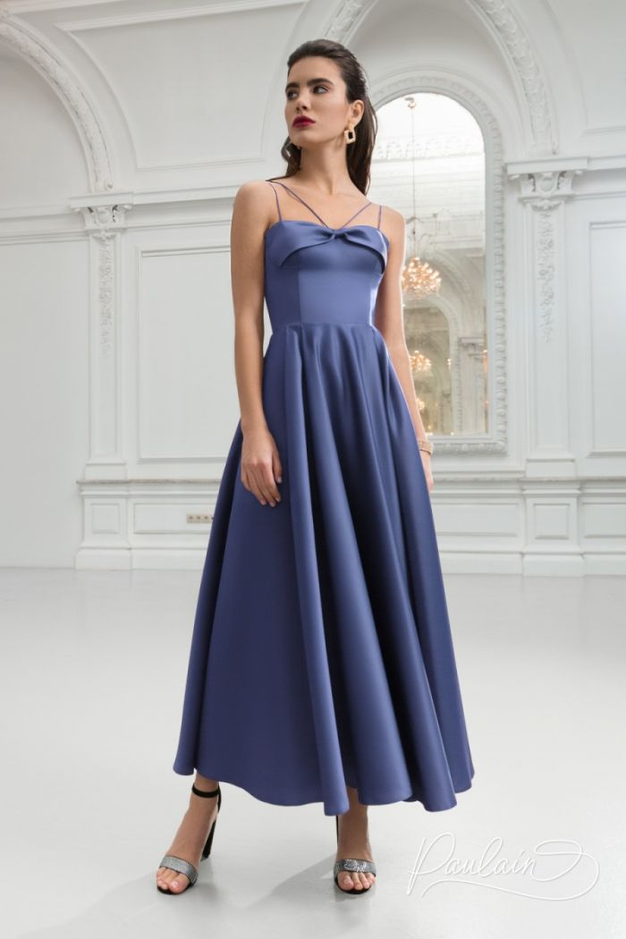 Вечернее атласное платье на бретельках с широкой юбкой длины миди МИЯ