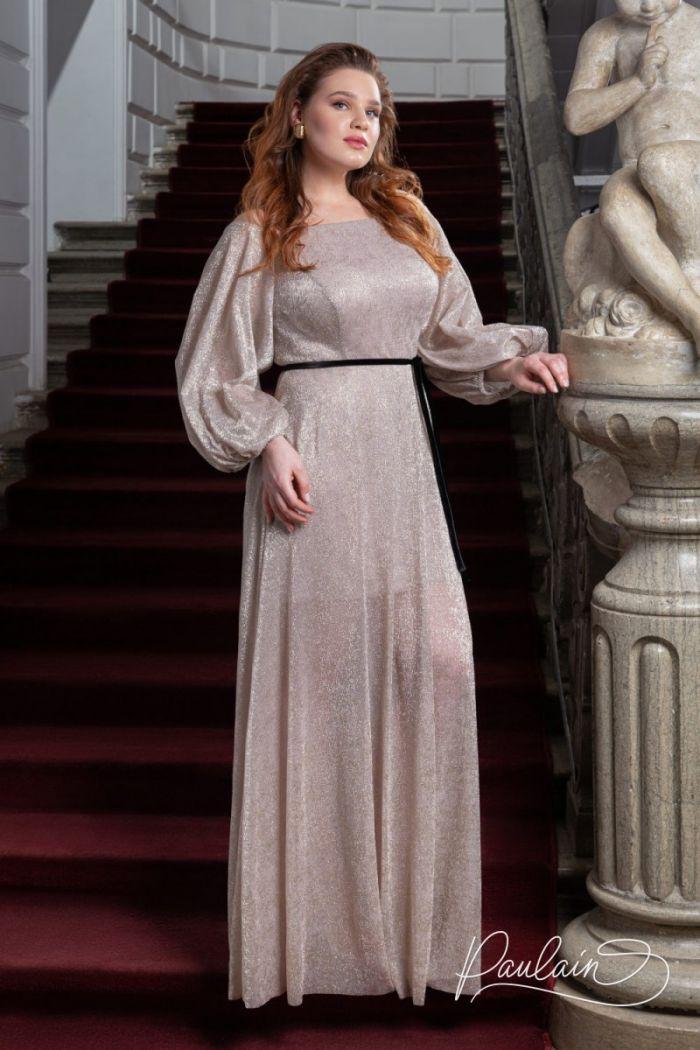 Вечернее платье из сверкающего трикотажа с открытыми плечами и объемными рукавами МИННА Макси