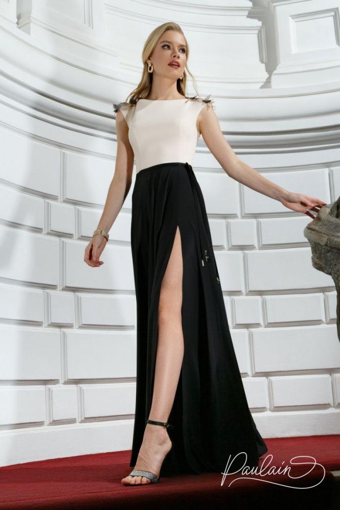 Длинное вечернее платье из благородного атласа с высоким разрезом НОВА