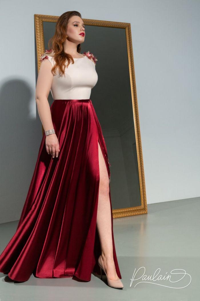 Длинное атласное вечернее платье с высоким разрезом НОВА