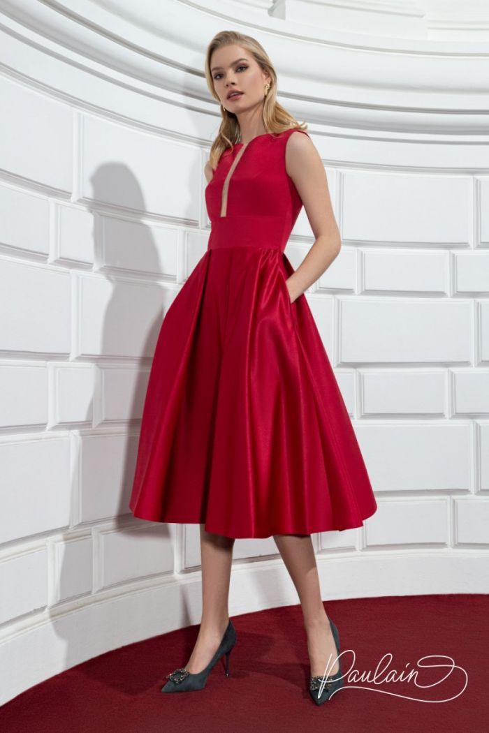 Идеальное коктейльное платье из тонкого атласа с юбкой длины миди РИЗ Миди