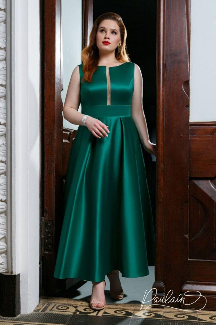 Минималистичный образ для особенных вечеров - благородный атлас в платье чайной длины РИЗ Чайная