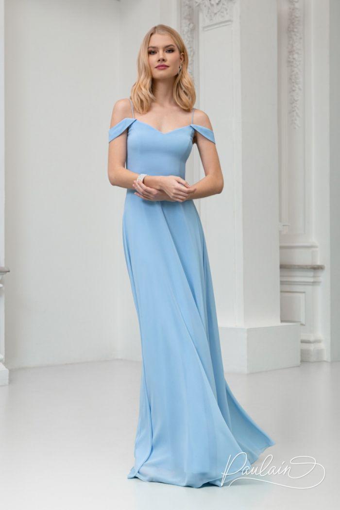 Великолепное вечернее платье нежно-голубого цвета и изящного силуэта РИВЕР