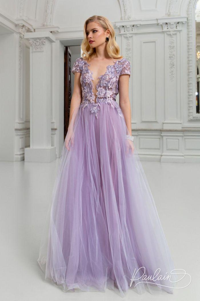 Длинное вечернее платье с пышной юбкой, кружевным лифом и открытой спиной РОЗМАРИ Макси