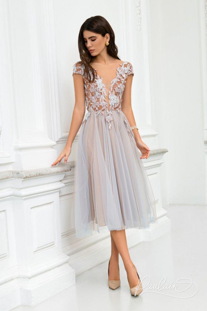 Коктейльное платье с открытой спиной на кружевном лифе и пышной юбкой РОЗМАРИ Миди