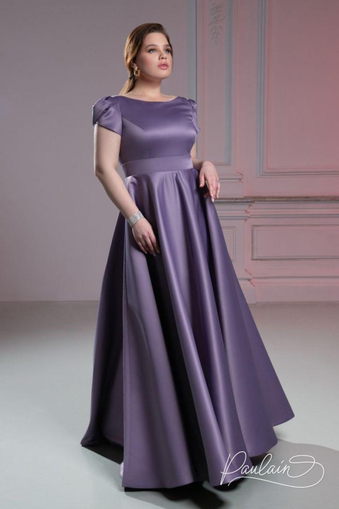 Атласное вечернее платье нежно-розового цвета с длинной юбкой А-силуэта ТУТТА Макси