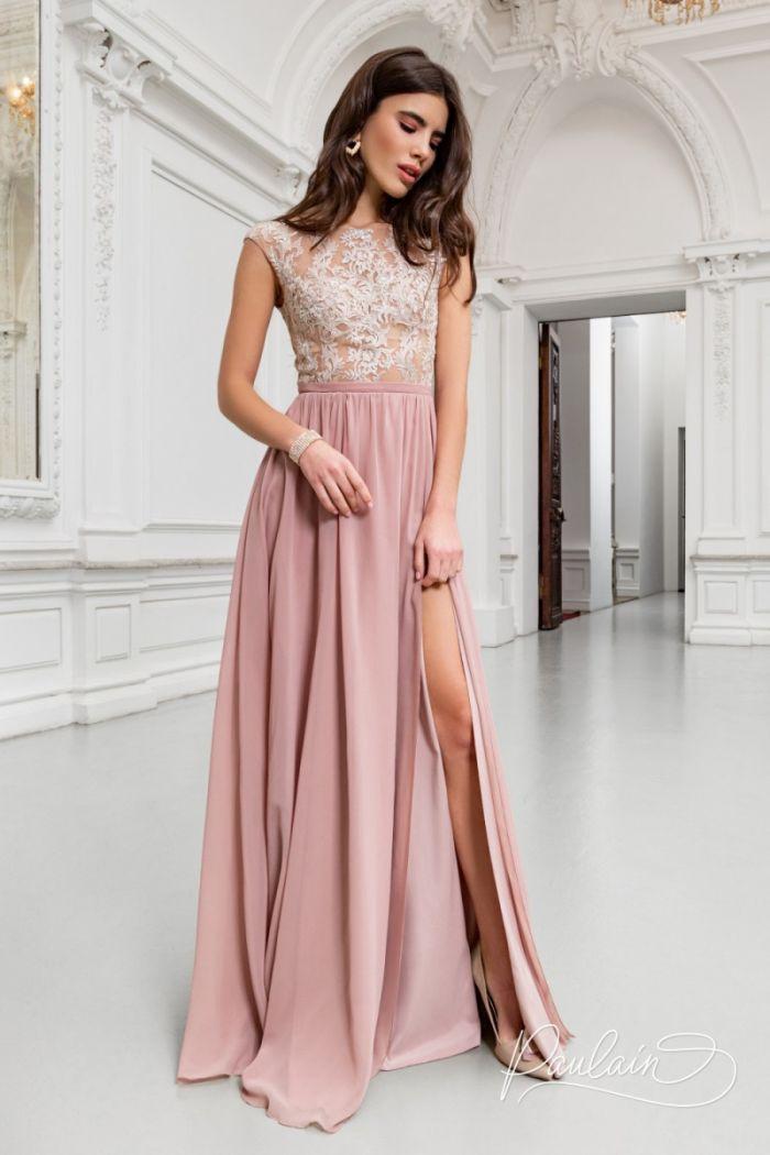 Вечернее платье с изящным кружевным корсетом и летящей юбкой из жоржета ТАЙЛЕР