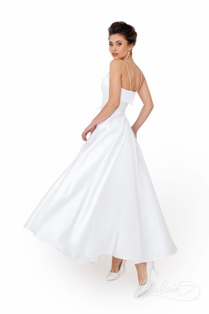 Элегантное свадебное платье из микадо на тонких бретелях АНРИ