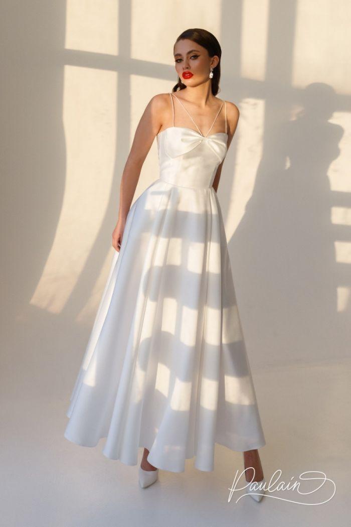 Красивое свадебное платье на тонких бретелях МИЯ