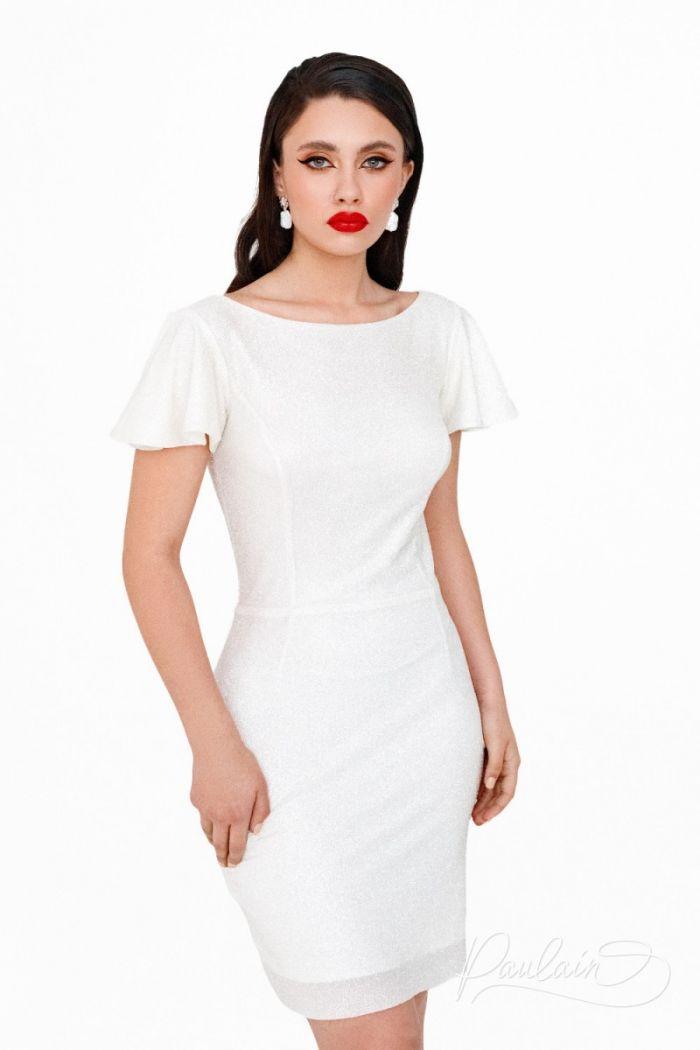 Яркое свадебное платье длины мини из глиттерной ткани на молнии ПЕРЛ