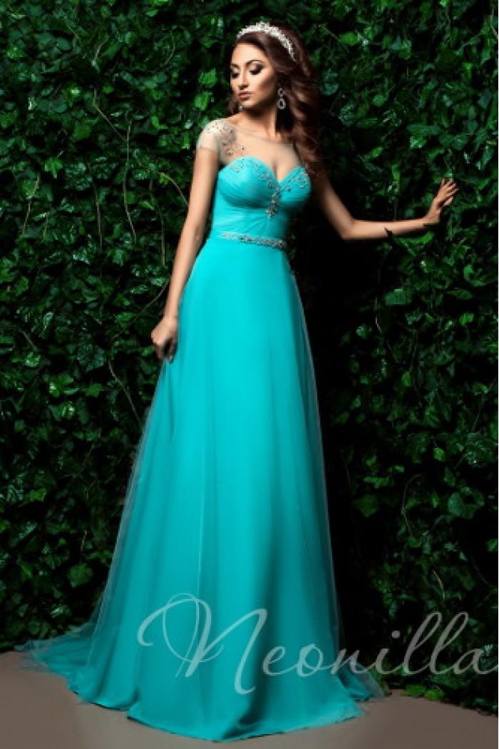 Длинное вечернее платье бирюзового цвета АИДА