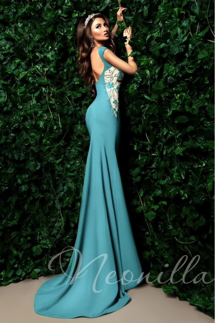 Длинное вечернее платье с открытой спиной и шлейфом АВАЛОНА