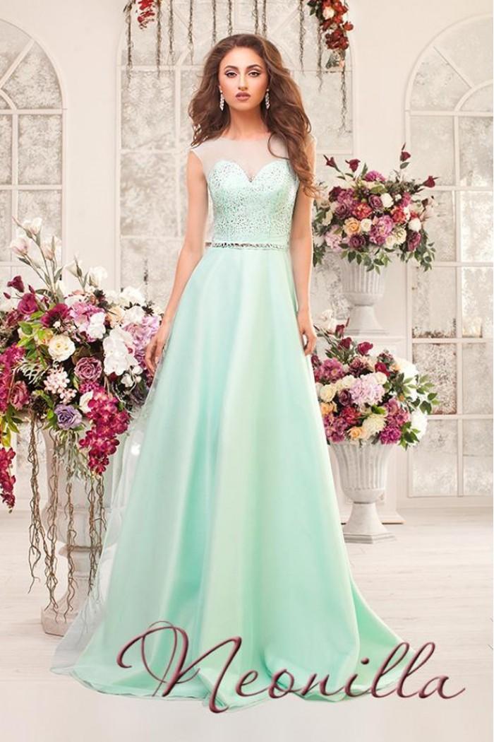 Вечернее платье мятного цвета с полупрозрачным верхом ВАЛЕНСИЯ